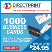 1000 Business Cards 14pts R/V Vanish $24.95!